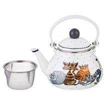 Чайник Эмалированный Agness Озорные Коты С Фильтром из Нжс, 1,3 л - Songmao Metalware