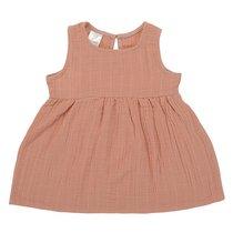 Платье без рукава из хлопкового муслина цвета пыльной розы из коллекции Essential 4-5Y - Tkano