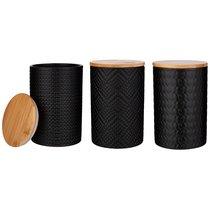 Набор из 3-х емкостей для сыпучих продуктов с бамбук.крышкой 10x10x15 см / 650 мл. - Agness