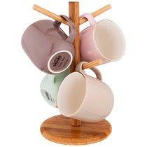 Набор Из 4 Кружек На Деревянной Подставке Lefard Break Time 310 мл Пастель - Liling Joypen