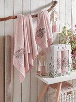 Комп. Пол. MERZUKA махр. в короб. (50x80/1)(70х130/1) 2 шт. FLORAL, цвет розовый - Meteor Textile