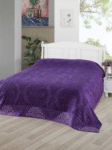"""Простынь махровая """"KARNA"""" жаккард OTTOMAN 200x220 см, цвет фиолетовый - Bilge Tekstil"""