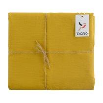 Скатерть на стол из умягченного льна с декоративной обработкой горчичного цвета Essential, 143х250, цвет горчичный, 143x250 - Tkano