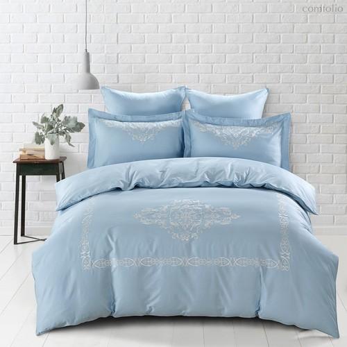 Постельное белье Karna Revena 300.TC, сатин с вышивкой, цвет голубой, Евро - Bilge Tekstil