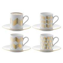 Набор из 4 чашек для кофе с блюдцами Signature Chevron 500 мл, золото - LSA International