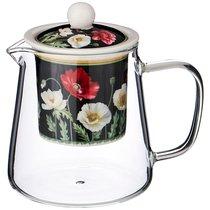 Чайник Стеклянный С Ситом Маки 400 мл Черный - Meizhou Yuesenyuan