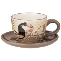 Чайный Набор На 1 Персону Парижские Коты 15x15 см Высота 7 см / 220 мл - Huachen Ceramics