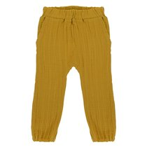 Штаны из хлопкового муслина горчичного цвета из коллекции Essential 4-5Y - Tkano