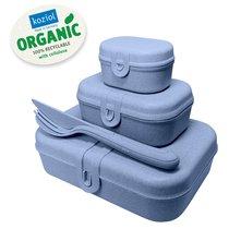 Набор из 3 ланч-боксов и столовых приборов PASCAL Organic синий - Koziol