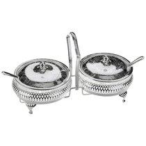 Набор из 2х вазочек для варенья с крышками и ложками Queen Anne, сталь, посеребрение - Queen Anne