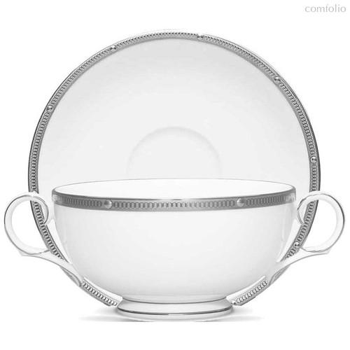 """Чашка суповая с блюдцем 210мл """"Рочель, платиновый кант"""" - Noritake"""