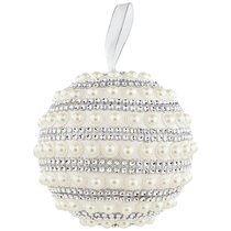 Елочное Украшение Шар Жемчугом Цвет: Silver Диаметр 15 см - Polite Crafts&Gifts