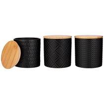 Набор из 3-х емкостей для сыпучих продуктов с бамбук.крышкой 10x10x10.5 см / 430 мл. - Agness