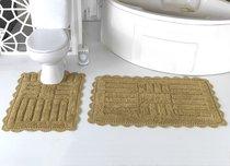 """Набор ковриков для ванной """"MODALIN"""" кружевной ANCOR 60x100 + 50x70 см 1/2, цвет темно-бежевый, 50x70, 60x100 - Bilge Tekstil"""
