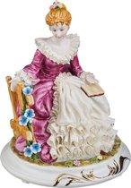 Статуэтка Дама с Книгой Высота 20 см Серия Фарфоровые Кружева - Jinding