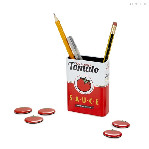 Набор подставки и держателей Tomato Sauce магнитный, цвет красный - Balvi