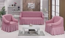 """Набор чехлов для дивана """"BULSAN"""" 3+1+1, цвет светло-розовый - Bulsan"""