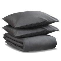 Комплект постельного белья из сатина темно-серого цвета из коллекции Wild, 150х200 см - Tkano