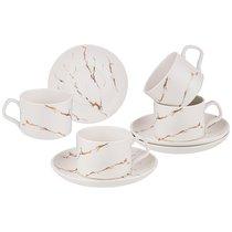 Чайный Набор На 4 Персоны Коллекция Золотой Мрамор Объем Чашки 250 мл Цвет:White
