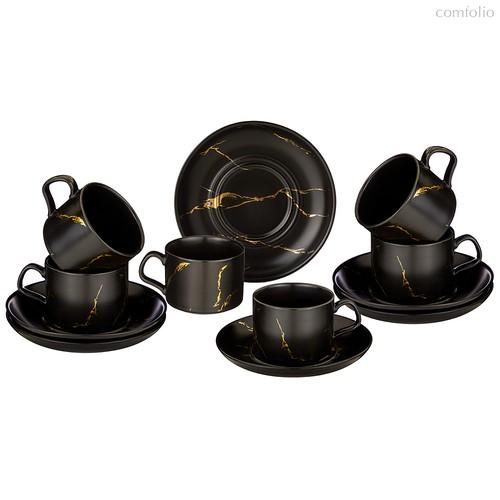 Чайный Набор На 6 Персон Коллекция Золотой Мрамор Объем Чашки 250 мл - Porcelain Manufacturing Factory