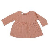 Платье с длинным рукавом из хлопкового муслина цвета пыльной розы из коллекции Essential 24-36M - Tkano