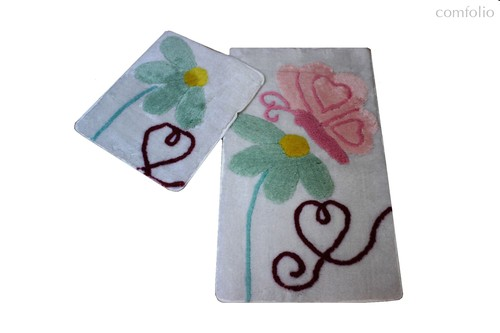 Коврик для ванной DO&CO (60Х100 см/50x60 см) PONTE, цвет белый, 50x60, 60x100 - Meteor Textile