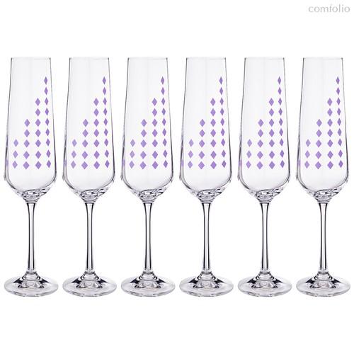 Набор бокалов для шампанского из 6 шт. SANDRA 200 мл ВЫСОТА=25 СМ - Crystalex