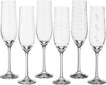 Набор бокалов для шампанского из 6 шт. ВИОЛА МИКС 190 мл ВЫСОТА 24 см . (КОР 1Набор.) - Crystalex