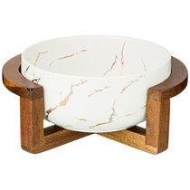 Салатник На Деревянной Подставке Коллекция Золотой Мрамор Цвет: White 23x19,x10 см - Porcelain Manufacturing Factory