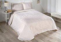 """Покрывало жаккард пано """"KARNA"""" FLOVEN 240x260 50x70 2 см, цвет кремовый - Bilge Tekstil"""