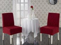 """Чехлы на стулья """"KARNA"""" MILANO 1/2, цвет бордовый - Bilge Tekstil"""