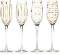 Фужер для шампанского 210мл Металлик Золото, набор 4 шт Хрустальное стекло - Mikasa
