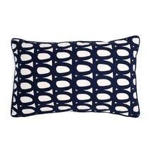 Чехол для подушки с принтом Twirl темно-синего цвета и декоративной окантовкой Cuts&Pieces, 30х50 см - Tkano