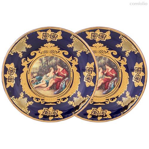 Набор Из 2 Тарелок Десертных Lefard Влюбленная Пара Кобальт 19,5 см - Jinding