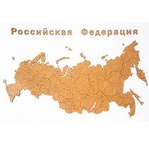 Карта-пазл Wall Decoration 'Российская Федерация' с городами, 98х53 см коричневая - Mimi