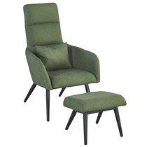 Кресло с подставкой для ног и подушкой Berg Bridjet, зеленое - Berg