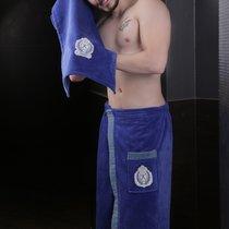 "Набор для сауны ""KARNA"" мужской велюром KORAL 1/2, цвет темно-синий, 50x90, 70x140 - Bilge Tekstil"