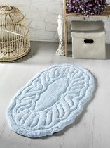 """Коврик для ванной """"MODALIN"""" овальная WENGE 50x80 см 1/1, цвет голубой, 50x80 - Bilge Tekstil"""