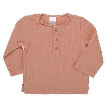 Рубашка из хлопкового муслина цвета пыльной розы из коллекции Essential 4-5Y - Tkano