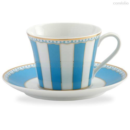 """Чашка чайная с блюдцем Noritake """"Карнавал"""" 240мл (голубая полоска), п/к, цвет голубой - Noritake"""