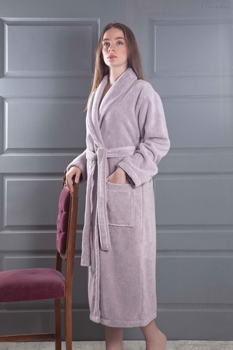 Домашний халат Karna Mora, цвет светло-сиреневый, размер L - Karna (Bilge Tekstil)
