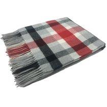 Плед BABILONA CHECK 305-2, цвет белый/красный/серый/черный, 130 x 170 - Italian Woollen Treasures