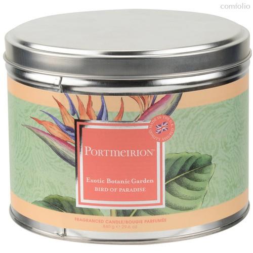 """Свеча в жестяной банке с крышкой, с 3 фитилями Portmeirion""""Экзотические цветы. Райская птица"""" 13см - Portmeirion"""