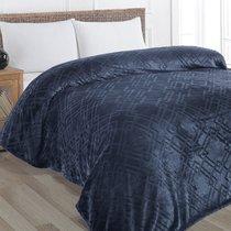 """Плед KARNA вельсофт жаккард """"PIRAMIT"""" 160x220 см, цвет синий, 160 x 220 - Bilge Tekstil"""
