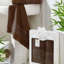 """Комплект полотенец бамбук """"KARNA"""" PANDORA 50х90-70х140 1/2, цвет темно-коричневый, 50x90, 70x140 - Bilge Tekstil"""
