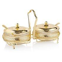 Набор вазочек для варенья с крышкой и ложками Queen Anne 11,5см, 7 предметов, золотой цвет - Queen Anne