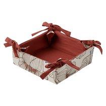 Корзинка для хлеба из хлопка терракотового цвета с принтом Цветы из коллекции Prairie, 30х30 см - Tkano