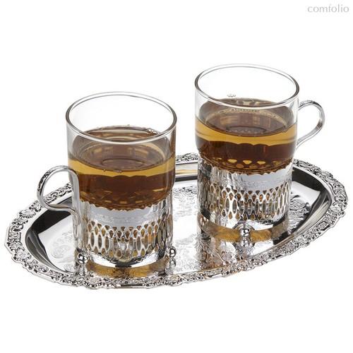 Набор стаканов с подстаканниками на подносе Queen Anne 23х19см, сталь, посеребрение, 2шт - Queen Anne