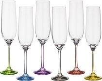 Набор бокалов для шампанского из 6 шт. RAINBOW 190 МЛ ВЫСОТА=24 СМ (КОР=8Набор.) - Crystalex
