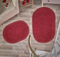 """Набор ковриков для ванной """"MODALIN"""" кружевной CROSS 60x100 + 50x70 см 1/2, цвет красный, 50x70, 60x100 - Bilge Tekstil"""